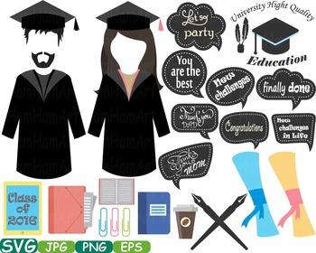 Graduation Photo Booth Props clip art high school college grad party Class -225s