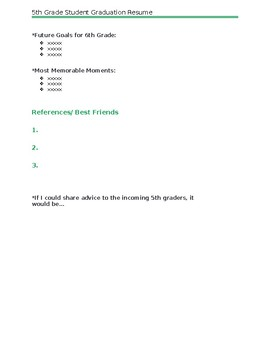 Graduation Resume for 5th Grader