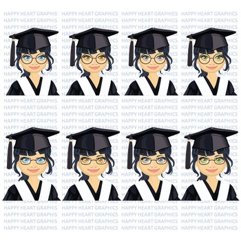 Graduation Student / Female / Girl / Asian / Clipart – Happy Heart Graphics