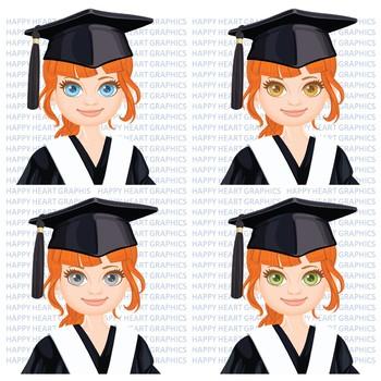 Graduation Student / Female / Girl / Auburn / Clipart – Happy Heart Graphics