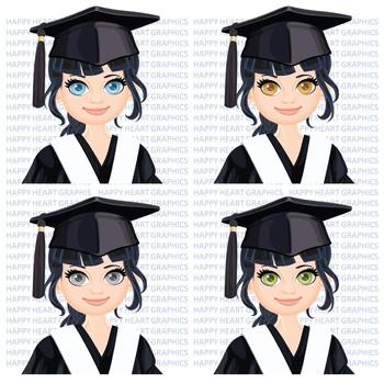 Graduation Student / Female / Girl / Black Hair / Clipart – Happy Heart Graphics