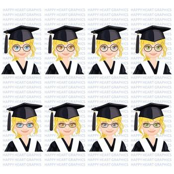 Graduation Student / Female / Girl / Blonde / Clipart – Happy Heart Graphics