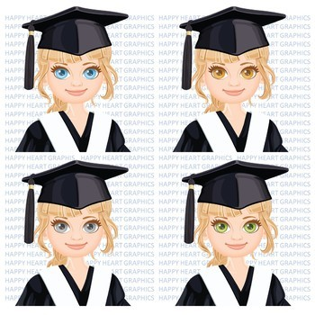 Graduation Student / Female / Girl / Brown Hair / Clipart – Happy Heart Graphics