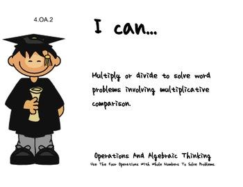 Graduation Theme 4th grade math Common Core Posters fourth Grade Standards