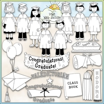 Graduation Time 1 - Commercial Use Clip Art & Black & White Images