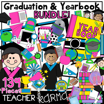 Graduation & Yearbook BUNDLE Clipart - NEON Brights Style - FREEBIE in preview