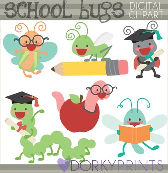 Graduation and School Bugs Clipart