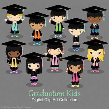 Graduation boys and girls, graduates,Children Digital Clipart