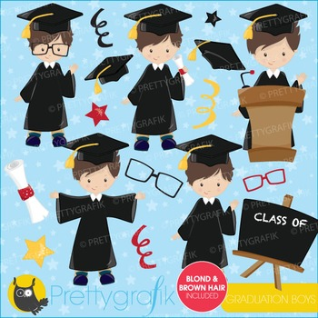 Graduation boys clipart commercial use, vector graphics, digital - CL664
