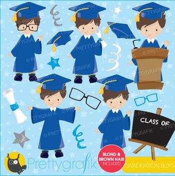 Graduation boys clipart commercial use, vector graphics, digital - CL667