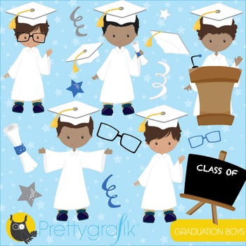 Graduation boys clipart commercial use, vector graphics, digital - CL843