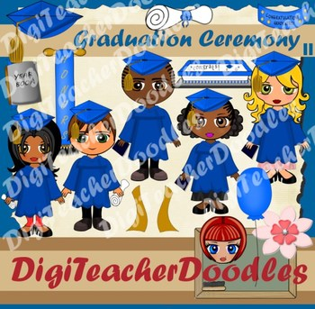 Graduation ceremony blue clipart