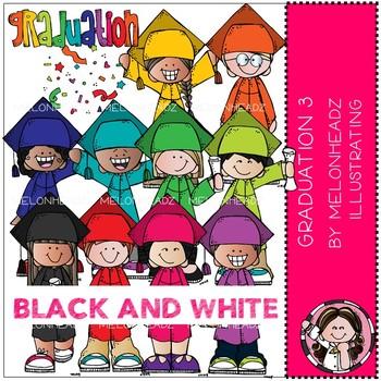 Graduation clip art - Part 3 - BLACK AND WHITE - by Melonheadz