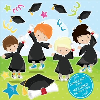 Graduation boys clipart commercial use, vector graphics, d