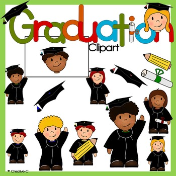 Graduation clipart - school children kids  - Commercial Use {Creative-C}