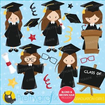 Graduation girls clipart commercial use, vector graphics, digital - CL668
