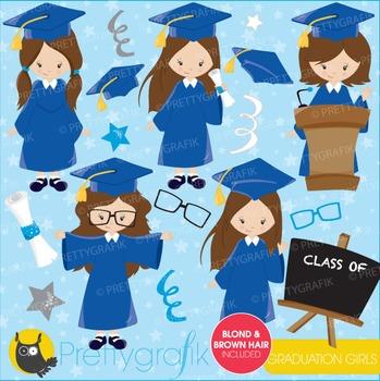 Graduation girls clipart commercial use, vector graphics, digital - CL669