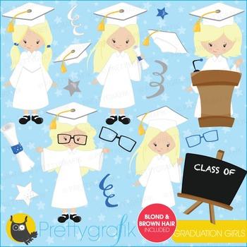 Graduation girls clipart commercial use, vector graphics, digital - CL670