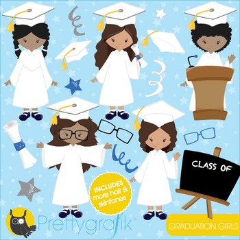 Graduation girls clipart commercial use, vector graphics, digital - CL842