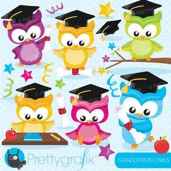 Graduation owls clipart commercial use, graphics, digital clip art - CL848