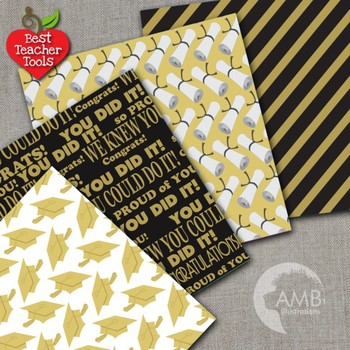 Graduation Papers, Digital Scrapbooking Papers in Gold and Black, AMB-1247