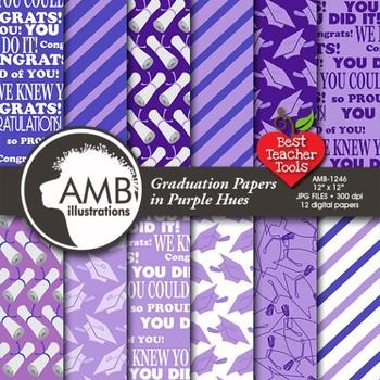 Graduation papers, Digital scrapbooking papers in Purple,