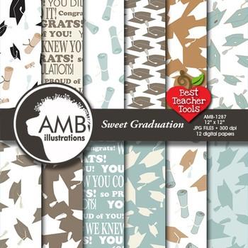 Graduation Digital Paper School Scrapbooking papers in Tans and Black, AMB-1287