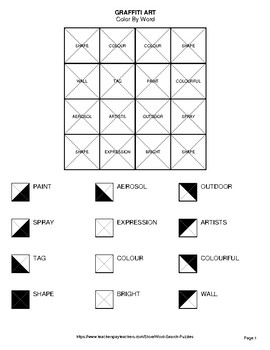 Graffiti Art - Color By Word & Color By Word Scramble Worksheets