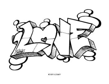 Graffiti Coloring Page Love By Josh Premuda Teachers Pay Teachers