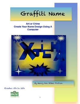 Graffiti Name Computer Graphics Lesson for 5th to 12th Grades