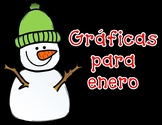 Graficas:  SPANISH January Count and Graph It for Kindergarten