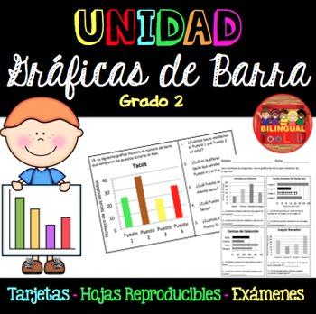 Unidad Gráficas de Barra Tarjetas Grado 2/Bar Graph Unit in Spanish 2nd Grade