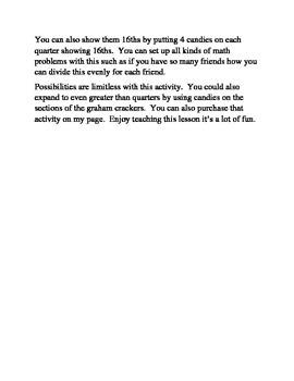 Graham Cracker & Candy Math Fractions 1/8 & 1/16