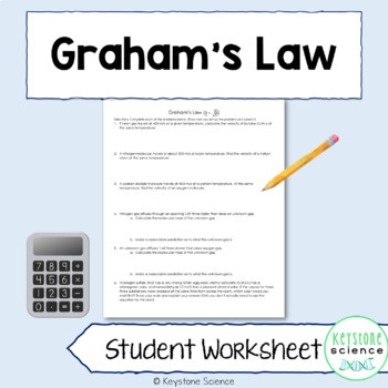 Graham's Law Problems with Answer Key Chemistry Gas Laws
