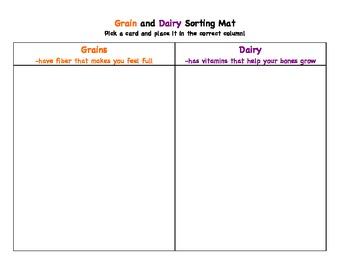 Grain vs. Dairy Nutrition Sort and Activities