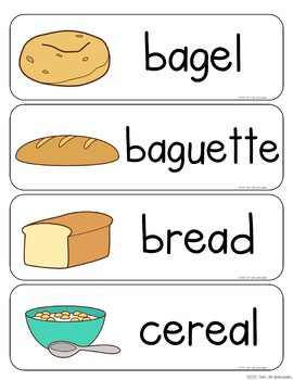 Grains Breads Vocabulary Word Wall Cards plus Write & Wipe Version