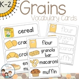 Grains Breads Vocabulary Word Wall Cards plus Write & Wipe