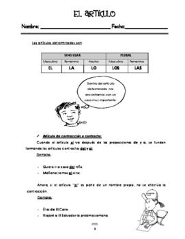 Gramatica. El articulo, tipos y ejercicios