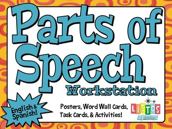 PARTS OF SPEECH Workstation - ENGLISH & SPANISH