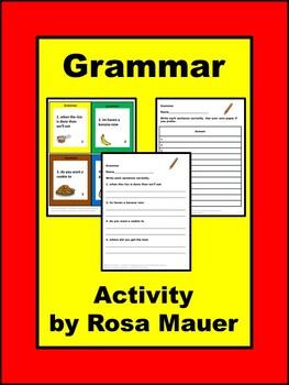 Grammar Food Theme Task Cards