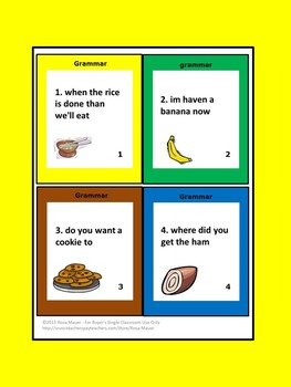Grammar Task Cards Food Theme