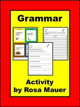 Grammar Food Theme Task Cards