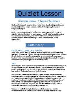 Types of Sentences - Quizlet Grammar Lesson