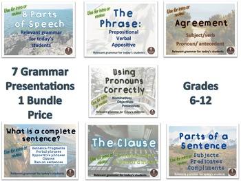 Grammar Bundle Grades 6-12 : 7 unit lessons in 1 bundle