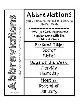 Grammar- Abbreviations {Interactive Notebook}