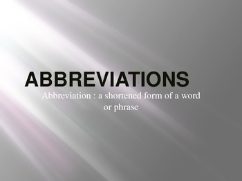 Grammar: Abbreviations Powerpoint with Animation/Sound