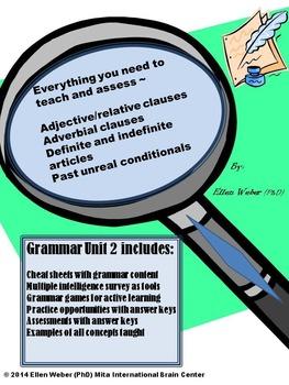 Grammar Action Unit 2 - Cheat Sheets, Games, Answer Keys (6 -12+)