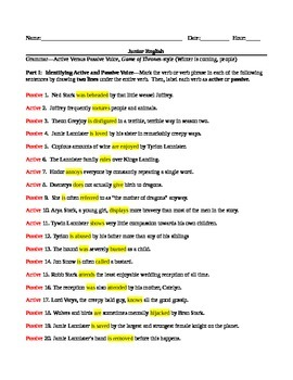 Grammar--Active and Passive Voice Lesson (w/ Naughty Notes and Game of Thrones)