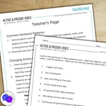 Active Voice and Passive Voice:  Grammar Activities