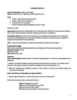 Grammar Activity - Giving Directions